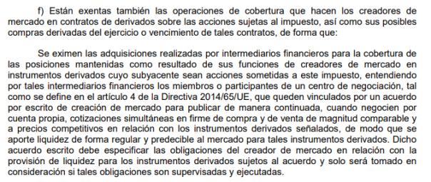 Exención ITF Derivados