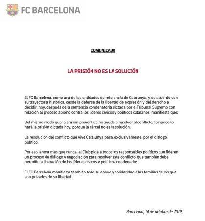 Comunicado FCB