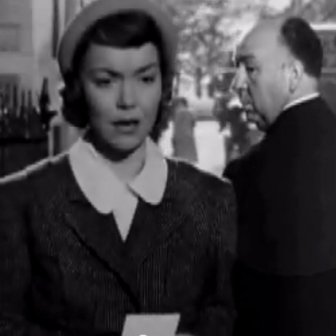 "Alfred Hitchcock makes a cameo appearance in the film Stage Fright (1950). He looks back at Eve Gill (Jane Wyman). HITCHCOCK - THE 37 CAMEOS The newly released 'Hitchcock' film reveals many of the personal motivations behind legendary director Alfred Hitchcock's psychological thrillers. But there was also a humorous side to the movie maker acknowledged as the 'Master of Suspense' - most especially his penchant for mischievous silent cameo appearances in his own films. Few other directors have broken the fourth wall with such regularity as Hitchcock, appearing in 37 of his 52 surviving major films and enhancing his huge cult following via those fleeting glimpses. Itself directed by Sacha Gervasi, 'Hitchcock' explores the relationship of the eponymous movie maker with wife Alma Reville, played by Sir Anthony Hopkins and Dame Helen Mirren respectively, leading up to the seminal, slasher horror 'Psycho' in 1960. In 'Psycho', Hitchcock walks past the office window of shower scene victim Marion Crane, played by Janet Leigh - who herself is portrayed by Scarlett Johansson in the current biopic. He is wearing a large cowboy hat and is not influencing the plot in any way - in stark contrast to Notorious' (1946) where his convivial champagne quaffing prompts a cellar visit and the discovery of the plot's 'Macguffin' radioactive material in wine bottles. Born and raised in London's East End, Hitchcock, made his 'debut' cameo appearance in the silent flick 'The Lodger: A Story of the London Fog' (1927), as a journalist in the very first few seconds of his third film. Subsequently, he performed a plethora of extra walk-on parts. As a noir profiled silhouette in his final one 'Family Plot' (1976). In a class reunion photo in 'Dial M For Murder' (1954) Even, in a newspaper ad photo for ""Reduco Obesity Slayer"" (in 1944's Lifeboat). Thematically, buses came along (though not all at the same time). 'Number 17' (1932). 'North By North West' (19"